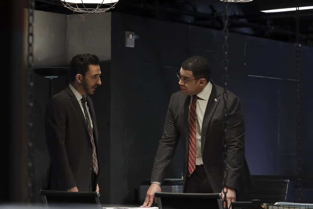 "THE BLACKLIST Season 8 Episode 11 -- ""Captain Kidd (#96)"" Episode 811 -- Pictured: (l-r) Amir Arison as Aram Mojtabai, Harry Lennix as Harold Cooper -- (Photo by: Will Hart/NBC)"