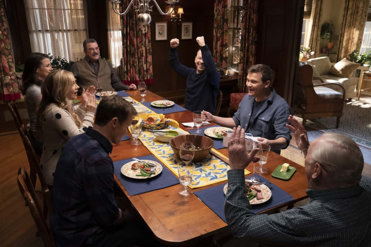 "Blue Bloods Season 11 Episode 9 ""For Whom the Bell Tolls"" -- Baez confides in Danny and asks for his help in proving her innocence after she finds a corpse in her front yard. Also, Erin struggles to find a peaceful solution when she receives harsh case notes from her boss, Jamie and Eddie butt heads over the handling of a young cop\'s punishment, and Frank makes his whole team attend therapy after Gormley exhibits troubling behavior, on BLUE BLOODS, Friday, March 26 (10:00-11:00 PM, ET/PT) on the CBS Television Network. Pictured: Will Estes as Jamie Reagan, Vanessa Ray as Eddie Janko, Bridget Moynahan as Erin Reagan, Tom Selleck as Frank Reagan, Donnie Wahlberg as Danny Reagan, Andrew Terraciano as Sean Reagan, Len Cariou as Henry Reagan.  Photo: Patrick Harbron/CBS  ©2020 CBS Broadcasting Inc. All Rights Reserved."