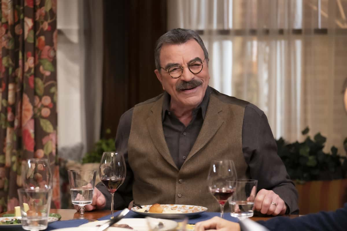"Blue Bloods Season 11 Episode 9 ""For Whom the Bell Tolls"" -- Baez confides in Danny and asks for his help in proving her innocence after she finds a corpse in her front yard. Also, Erin struggles to find a peaceful solution when she receives harsh case notes from her boss, Jamie and Eddie butt heads over the handling of a young cop\'s punishment, and Frank makes his whole team attend therapy after Gormley exhibits troubling behavior, on BLUE BLOODS, Friday, March 26 (10:00-11:00 PM, ET/PT) on the CBS Television Network. Pictured: Tom Selleck as Frank Reagan.  Photo: Patrick Harbron/CBS  ©2020 CBS Broadcasting Inc. All Rights Reserved."