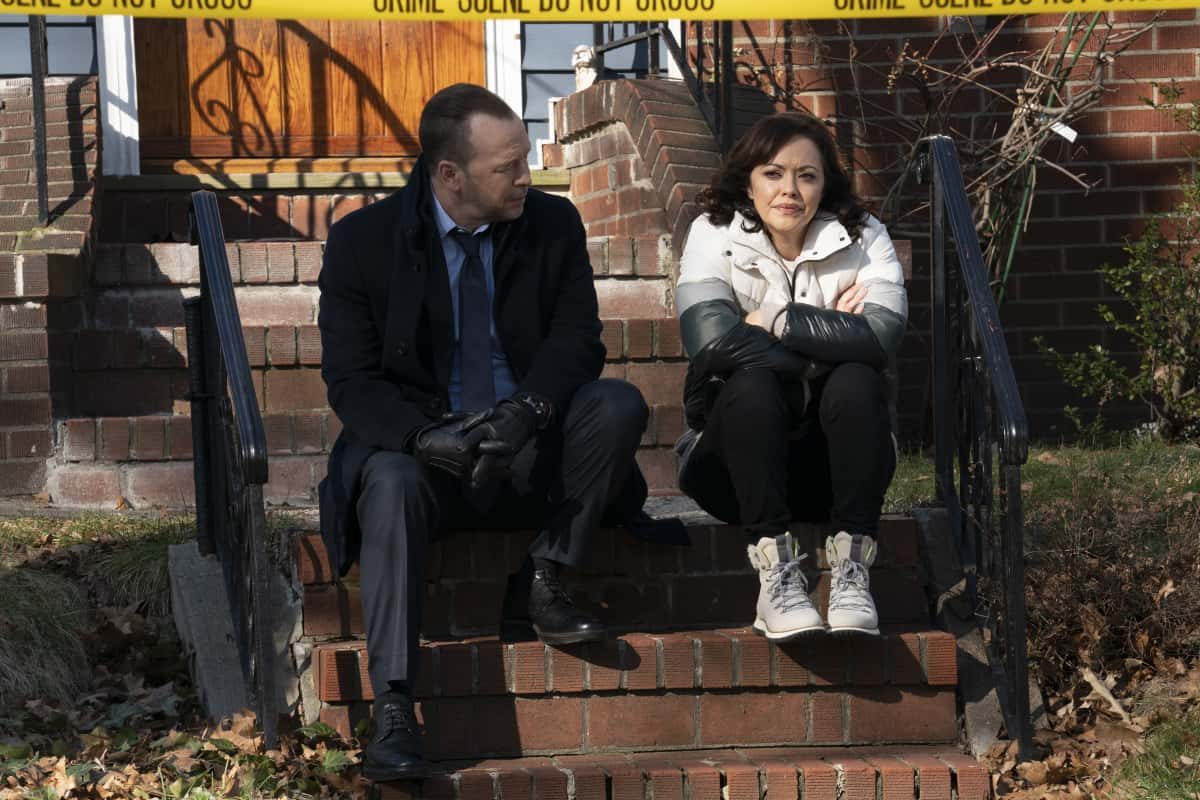 "Blue Bloods Season 11 Episode 9 ""For Whom the Bell Tolls"" -- Baez confides in Danny and asks for his help in proving her innocence after she finds a corpse in her front yard. Also, Erin struggles to find a peaceful solution when she receives harsh case notes from her boss, Jamie and Eddie butt heads over the handling of a young cop\'s punishment, and Frank makes his whole team attend therapy after Gormley exhibits troubling behavior, on BLUE BLOODS, Friday, March 26 (10:00-11:00 PM, ET/PT) on the CBS Television Network. Pictured: Donnie Wahlberg as Danny Reagan, Marisa Ramirez as Maria Baez.  Photo: Patrick Harbron/CBS  ©2020 CBS Broadcasting Inc. All Rights Reserved."