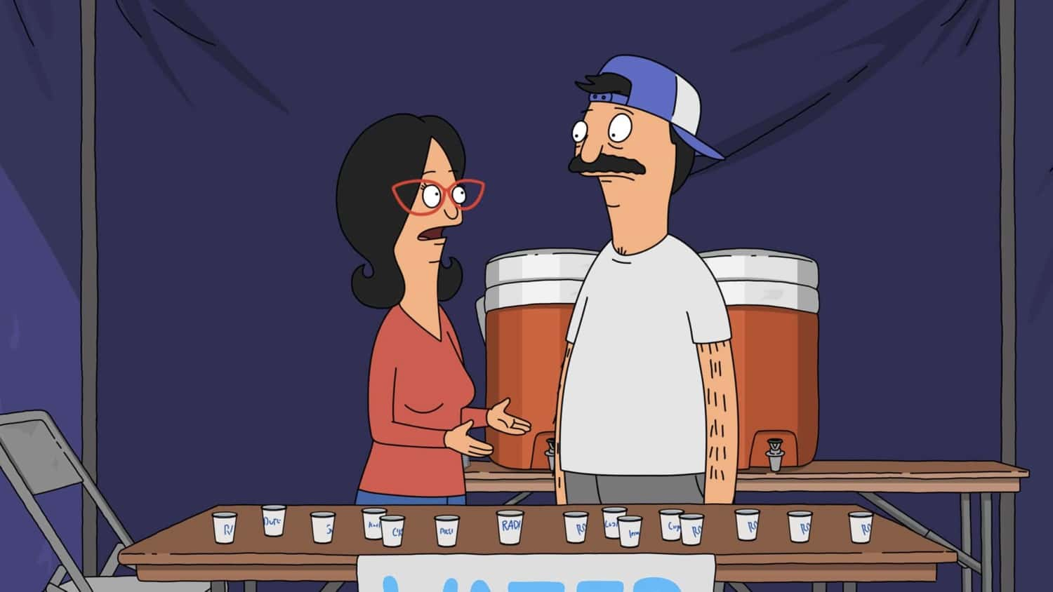 """BOB'S BURGERS Season 11 Episode 16 : When Tina is forced to listen to Spanish audio lessons in the library to improve her grade, she develops an unexpected crush. Meanwhile, Louise and Gene want to dunk Mr. Frond at the Wagstaff Spring Fair in the """"Y Tu Tina También"""" episode of BOB'S BURGERS airing Sunday, March 28 (9:00-9:30 PM ET/PT) on FOX. BOB'S BURGERS © 2021 by 20th Television."""