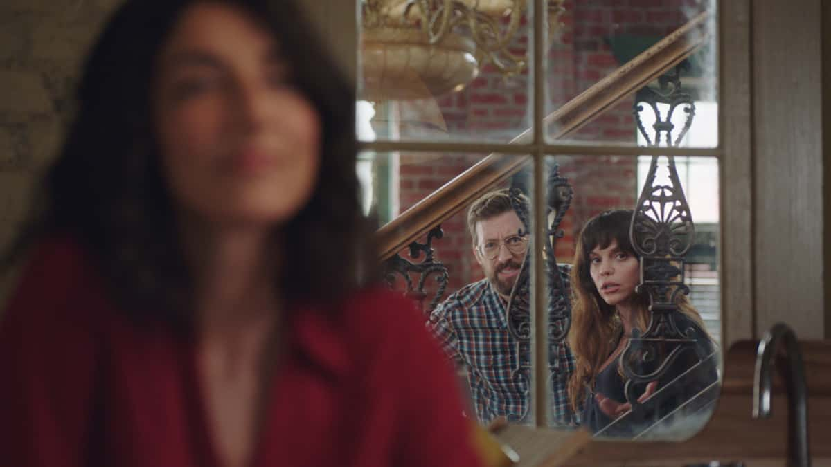 """NCIS New Orleans Season 7 Episode 11 """"Stashed"""" -- Sebastian\'s life is in danger when a criminal he put behind bars escapes police custody. Also, Carter is tasked with keeping Sebastian in protective custody and Carter and Hannah\'s flirtation is fun gossip fodder for Tammy and Sebastian, on """"NCIS: NEW ORLEANS,"""" Sunday, March 26 (10:00-11:00 PM, ET/PT) on the CBS Television Network. Pictured L-R: Necar Zadegan as Special Agent Hannah Khoury, Rob Kerkovich as Forensic Agent Sebastian Lund, and Vanessa Ferlito as Special Agent Tammy Gregorio Photo: Screen Grab/CBS 2021 CBS Broadcasting, Inc. All Rights Reserved."""