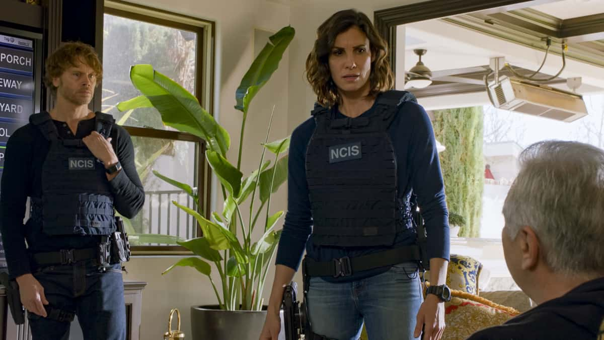 """NCIS Los Angeles Season 12 Episode 13 """"Red Rover, Red Rover"""" - Pictured: Eric Christian Olsen (LAPD Liaison Marty Deeks) and Daniela Ruah (Special Agent Kensi Blye). To rescue Joelle from further torture by the Russians, Callen and NCIS must offer up Anna as bait to Katya. Also, Callen finally discovers who accused him of being Russian spy, on NCIS: LOS ANGELES, Sunday, March 28 (9:00-10:00 PM, ET/PT) on the CBS Television Network. Photo: Screen Grab/CBS ©2021 CBS Broadcasting, Inc. All Rights Reserved."""