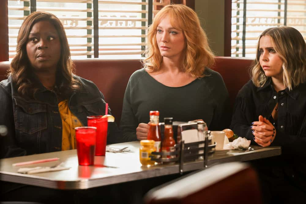 "GOOD GIRLS Season 4 Episode 4 -- ""Dave"" Episode 404 -- Pictured: (l-r) Retta as Ruy Hill, Christina Hendrick as Beth Boland, Mae Whitman as Annie Marks -- (Photo by: Jordin Althaus/NBC)"