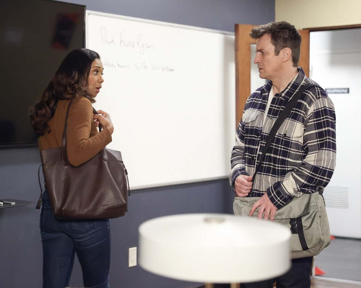 """THE ROOKIE Season 3 Episode 8 - """"Bad Blood"""" – Officer Nolan, Officer Harper and Detective Lopez are assigned to the kidnapping of the son of a criminal court judge who has a long list of enemies who could possibly be involved on """"The Rookie,"""" SUNDAY, MARCH 28 (10:00-11:00 p.m. EDT), on ABC. (ABC/Raymond Liu) TOKS OLAGUNDOYE, NATHAN FILLION"""