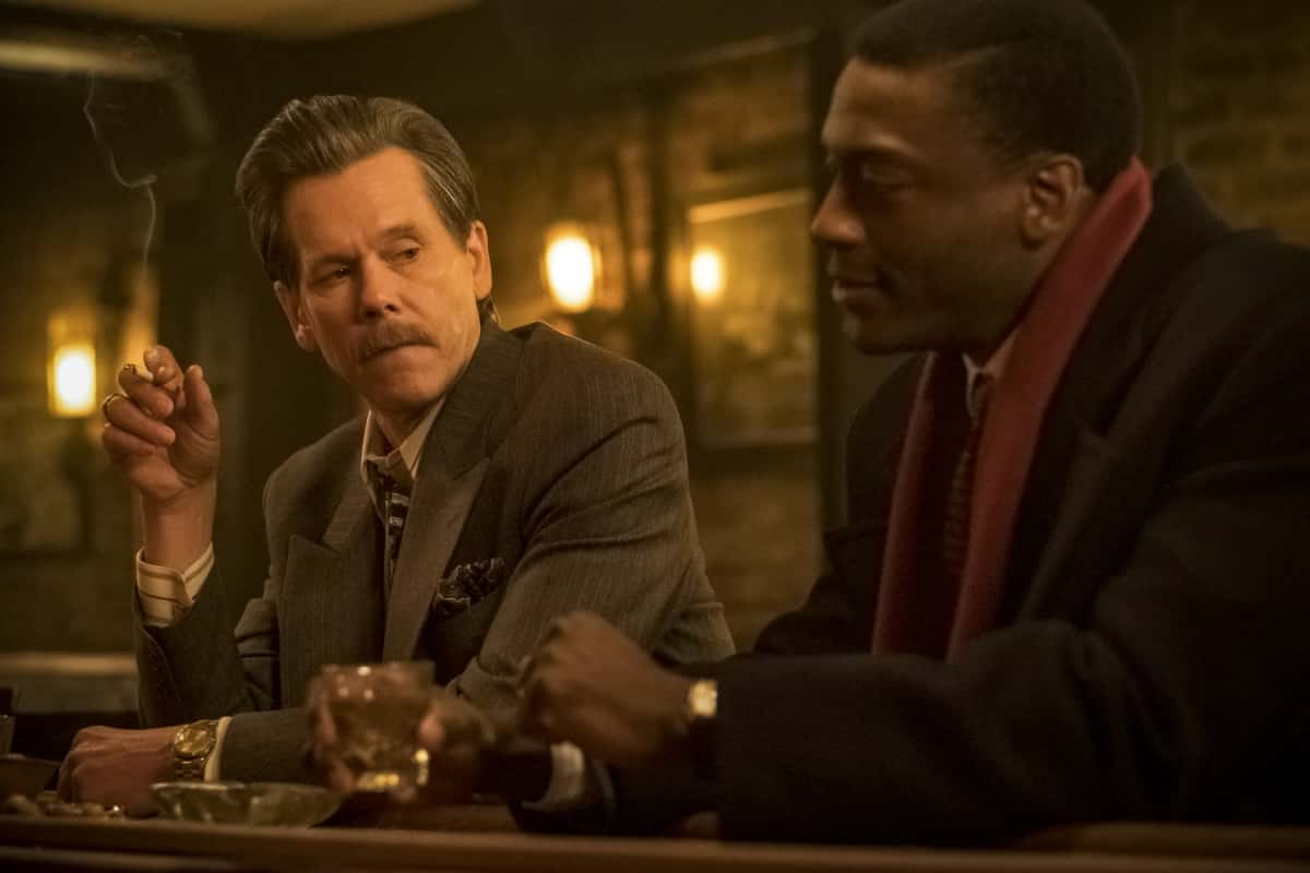"""City On A Hill Season 2 Episode 1 (L-R): Aldis Hodge as Decourcy Ward and Kevin Bacon as Jackie Rohr in CITY ON A HILL, """"Bill Russell's Bedsheets"""". Photo Credit: Francisco Roman/SHOWTIME."""