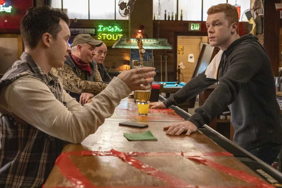 """Shameless Season 11 Episode 10 (L-R): Noel Fisher as Mickey Milkovich and Cameron Monaghan as Ian Gallagher in SHAMELESS, """"DNR"""". Photo Credit: Paul Sarkis/SHOWTIME."""