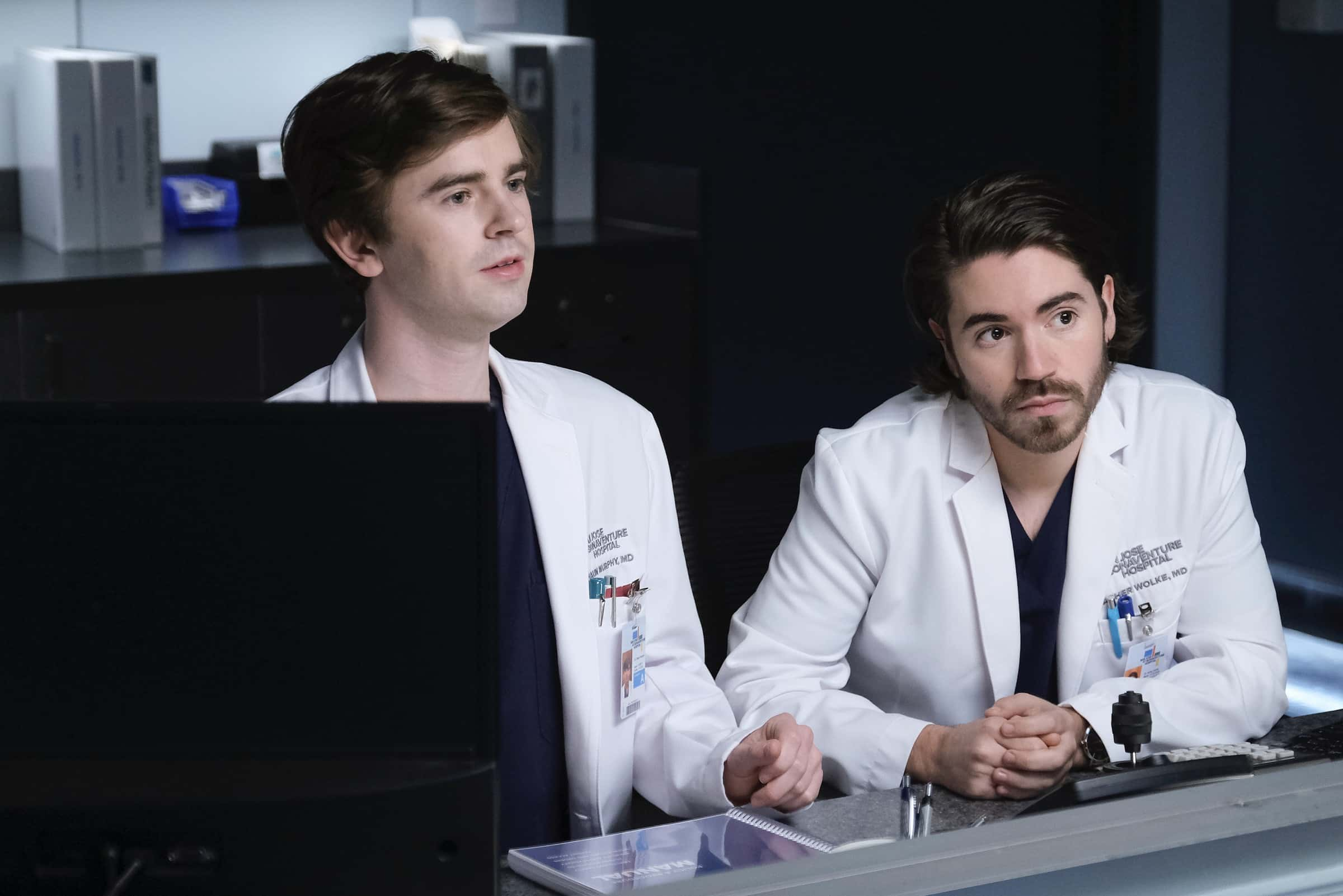 "THE GOOD DOCTOR Season 4 Episode 13 - ""Spilled Milk"" – Claire is blindsided when her absentee father shows up at her door. Meanwhile, Shaun feels disconnected from Lea, causing tension in their relationship on an all-new episode of ""The Good Doctor,"" MONDAY, MARCH 29 (10:00-11:00 p.m. EDT), on ABC. (ABC/Jeff Weddell) FREDDIE HIGHMORE, NOAH GALVIN"