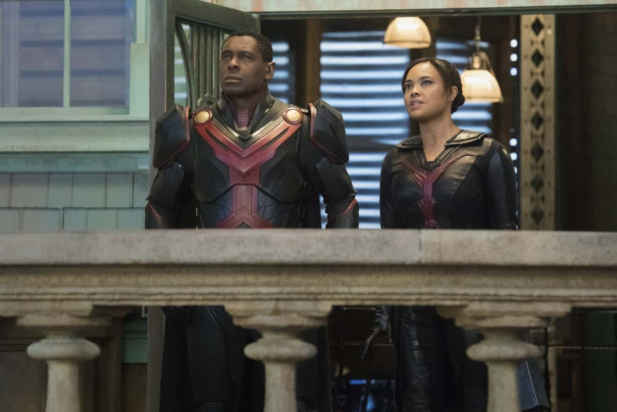 """Supergirl Season 6 Episode 1 -- """"Rebirth"""" -- Image Number: SPG520B_0449r -- Pictured (L -R): David Harewood as Hank Henshaw/J'onn J'onzz and Sharon Leal as M'gann M'orzz -- Photo: Dean Buscher/The CW -- © 2021 The CW Network, LLC. All Rights Reserved."""