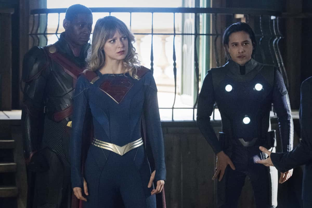 """Supergirl Season 6 Episode 1  -- """"Rebirth"""" -- Image Number: SPG520B_0002r -- Pictured (L - R): David Harewood as Hank Henshaw/J'onn J'onzz, Melissa Benoist as Supergirl, and Jesse Rath as Brainiac-5 -- Photo: Dean Buscher/The CW -- © 2021 The CW Network, LLC. All Rights Reserved."""