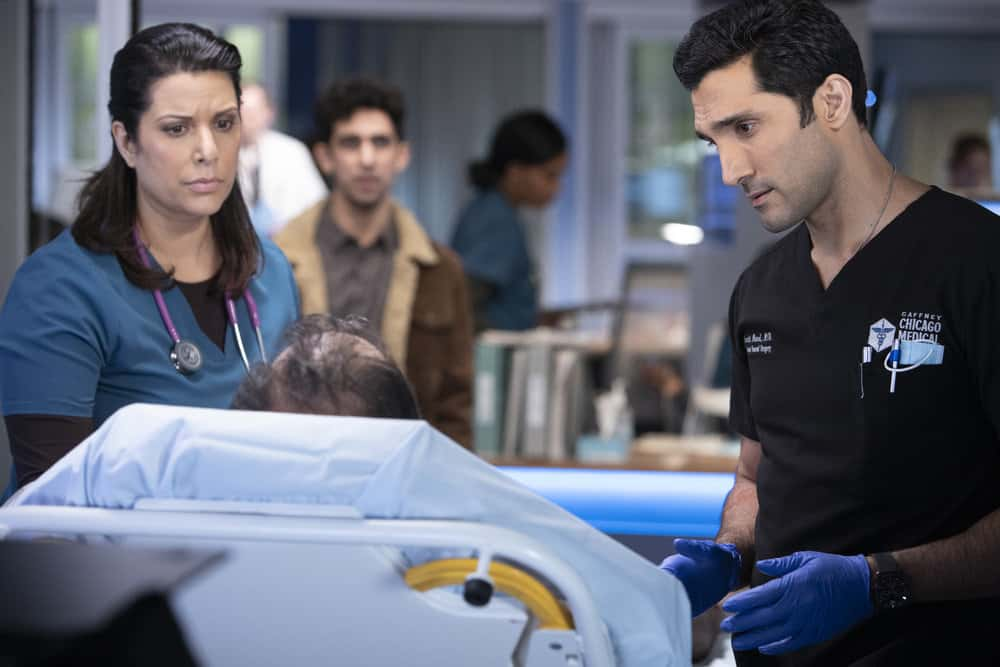 "CHICAGO MED Season 6 Episode 10 -- ""So Many Things We've Kept Buried"" Episode 610 -- Pictured: (l-r) Dominic Rains as Crockett Marcel -- (Photo by: Adrian S. Burrows Sr./NBC)"