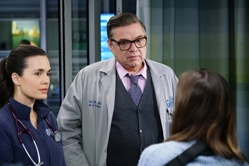 "CHICAGO MED Season 6 Episode 10 -- ""So Many Things We've Kept Buried"" Episode 610 -- Pictured: (l-r) Torrey DeVitto as Natalie Manning, Oliver Platt as Daniel Charles -- (Photo by: Elizabeth Sisson/NBC)"