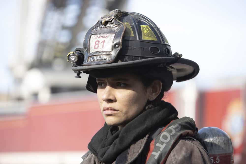 "CHICAGO FIRE Season 9 Episode 10 -- ""One Crazy Shift"" Episode 910 -- Pictured: Miranda Rae Mayo as Stella Kidd -- (Photo by: Adrian S. Burrows Sr./NBC)"