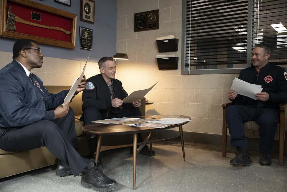 "CHICAGO FIRE Season 9 Episode 10 -- ""One Crazy Shift"" Episode 910 -- Pictured: (l-r) Eamonn Walker as Wallace Boden, David Eigenberg as Christopher Herrmann, Taylor Kinney as Kelly Severide -- (Photo by: Adrian S. Burrows Sr./NBC)"