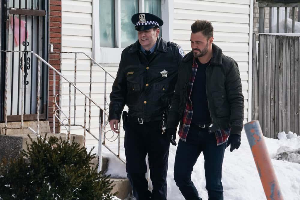 "CHICAGO PD Season 8 Episode 10  -- ""The Radical Truth"" Episode 810 -- Pictured: (l-r) Jack Coleman as Bob Ruzek, Patrick John Flueger as Adam Ruzek -- (Photo by: Lori Allen/NBC)"