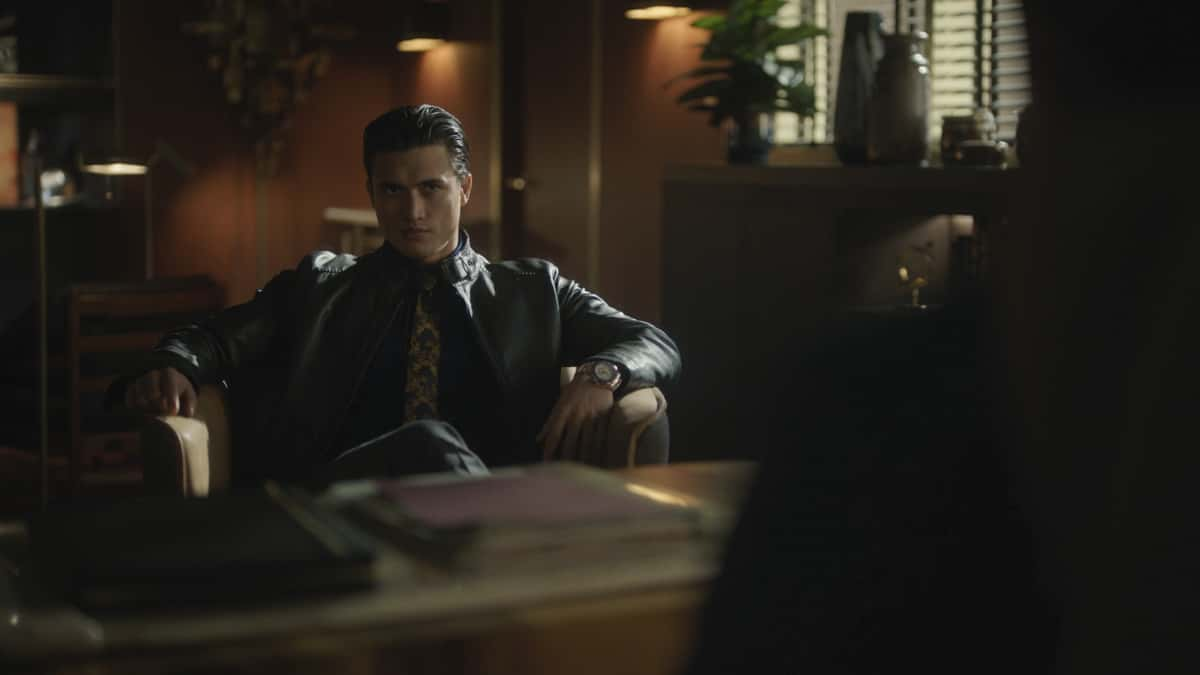 """Riverdale Season 5 Episode 10 -- """"Chapter Eighty-Six: The Pincushion Man"""" -- Image Number: RVD510fg_0020r -- Pictured: Charles Melton as Reggie Mantle -- Photo: The CW -- © 2021 The CW Network, LLC. All Rights Reserved."""