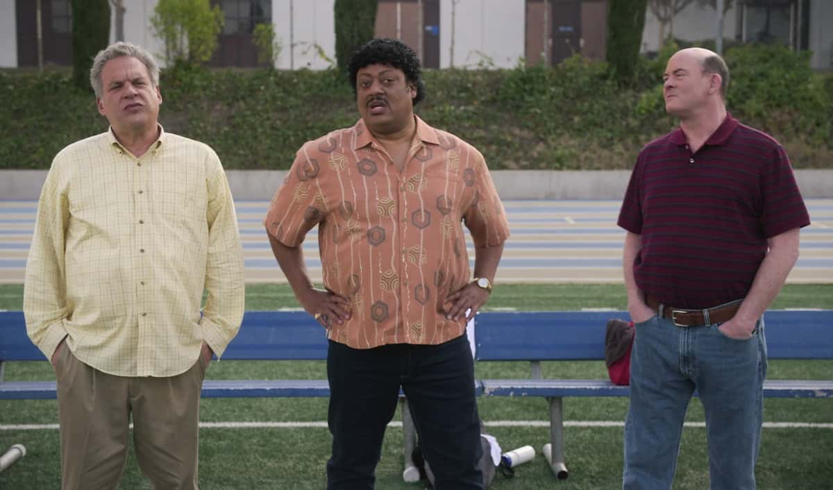 "THE GOLDBERGS Season 8 Episode 15 - ""Bever-lé"" - When the NFL players go on strike and the football season is threatened, Barry gets concerned that he and Murray will no longer have anything to talk about which leads Barry to try out for the Eagles team himself. Against Erica's advice, Beverly decides to start selling a nutritional product from a sketchy company in an attempt to gain financial independence on a new episode of ""The Goldbergs,"" WEDNESDAY, MARCH 31 (8:00-8:30 p.m. EDT), on ABC. (ABC) JEFF GARLIN, CEDRIC YARBROUGH, DAVID KOECHNER"