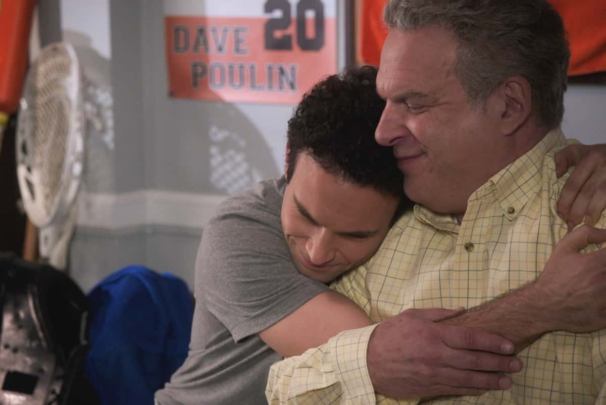 "THE GOLDBERGS Season 8 Episode 15 - ""Bever-lé"" - When the NFL players go on strike and the football season is threatened, Barry gets concerned that he and Murray will no longer have anything to talk about which leads Barry to try out for the Eagles team himself. Against Erica's advice, Beverly decides to start selling a nutritional product from a sketchy company in an attempt to gain financial independence on a new episode of ""The Goldbergs,"" WEDNESDAY, MARCH 31 (8:00-8:30 p.m. EDT), on ABC. (ABC) TROY GENTILE, JEFF GARLIN"
