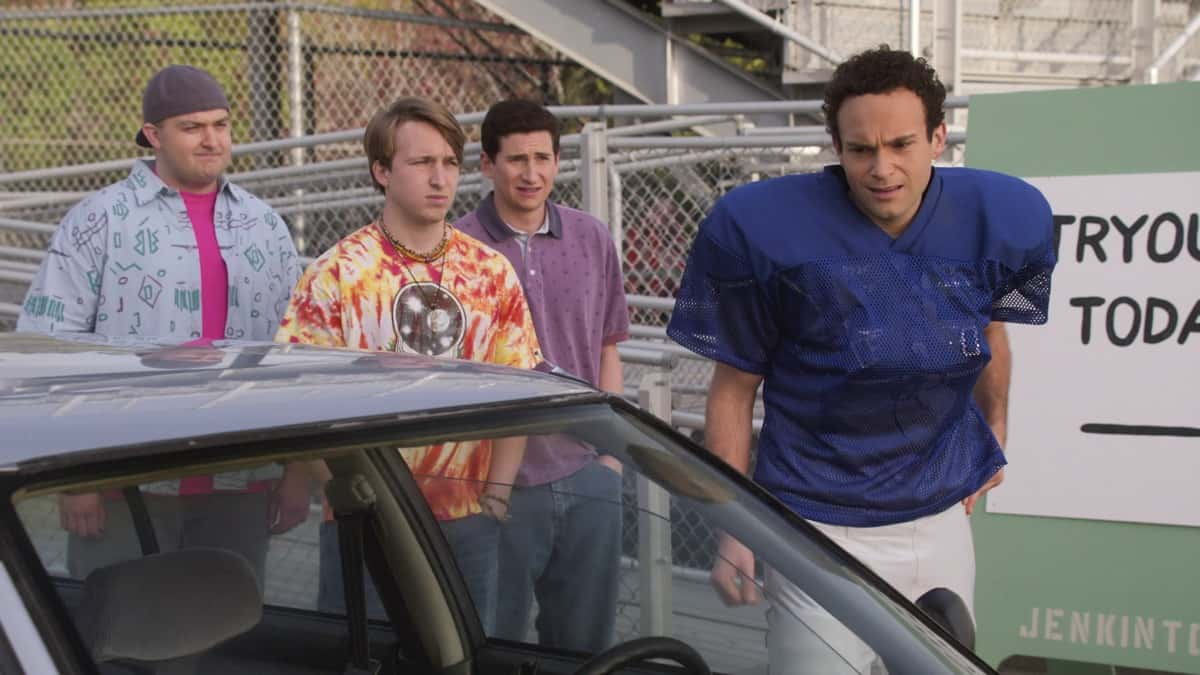 """THE GOLDBERGS Season 8 Episode 15 - """"Bever-lé"""" - When the NFL players go on strike and the football season is threatened, Barry gets concerned that he and Murray will no longer have anything to talk about which leads Barry to try out for the Eagles team himself. Against Erica's advice, Beverly decides to start selling a nutritional product from a sketchy company in an attempt to gain financial independence on a new episode of """"The Goldbergs,"""" WEDNESDAY, MARCH 31 (8:00-8:30 p.m. EDT), on ABC. (ABC) NOAH MUNCK, SHAYNE TOPP, SAM LERNER, TROY GENTILE"""