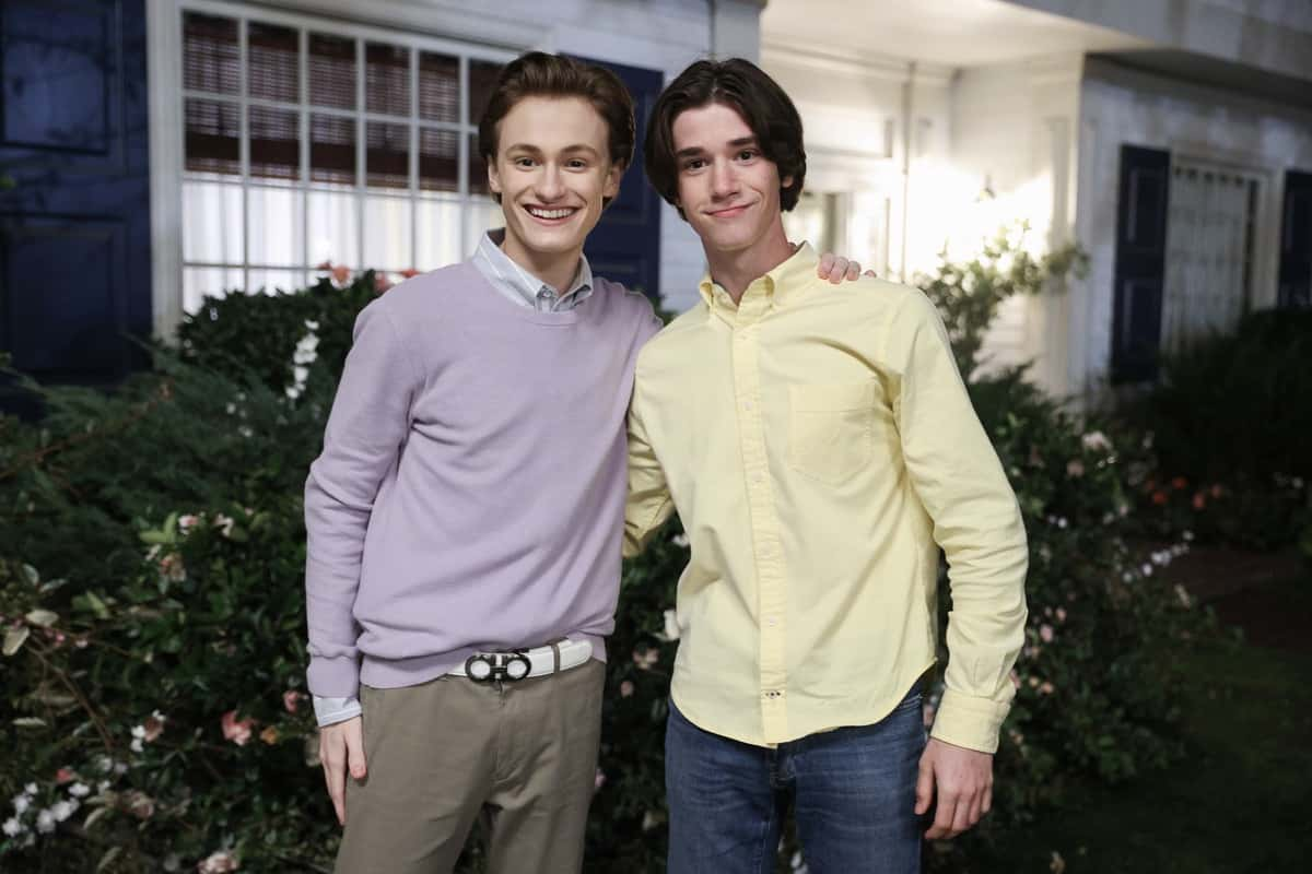 """AMERICAN HOUSEWIFE Season 5 Episode 13 - """"The Election"""" – Katie pushes Cooper (Logan Pepper) to share his passion for the culinary arts and ambition of becoming a chef with his autocratic father, Doyle Bradford (Joel McHale). Meanwhile, Greg and Principal Ablin (Jerry Lambert) go head-to-head when the election results offer an interesting twist. And the Otto family gets the surprise of a lifetime on the season finale of """"American Housewife,"""" WEDNESDAY, MARCH 31 (8:30-9:00 p.m. EDT), on ABC. (ABC/Raymond Liu) LOGAN PEPPER, DANIEL DIMAGGIO"""