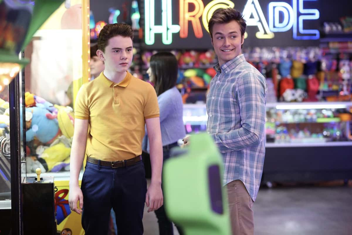 """AMERICAN HOUSEWIFE Season 5 Episode 13 - """"The Election"""" – Katie pushes Cooper (Logan Pepper) to share his passion for the culinary arts and ambition of becoming a chef with his autocratic father, Doyle Bradford (Joel McHale). Meanwhile, Greg and Principal Ablin (Jerry Lambert) go head-to-head when the election results offer an interesting twist. And the Otto family gets the surprise of a lifetime on the season finale of """"American Housewife,"""" WEDNESDAY, MARCH 31 (8:30-9:00 p.m. EDT), on ABC. (ABC/Raymond Liu) EVAN O'TOOLE, PEYTON MEYER"""