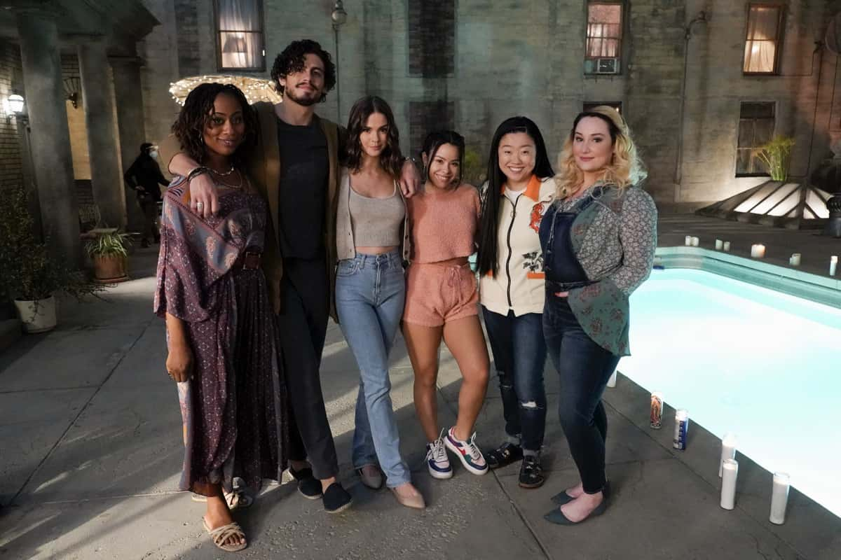 """GOOD TROUBLE Season 3 Episode 7 - """"New Moon"""" - A surprise intruder interrupts Malika's New Moon ceremony wreaking havoc and disrupting relationships amongst the Coterie members; Callie and Gael bond, Mariana confronts Raj, Malika explores new feelings, Davia gets closer to Matt and Alice questions her relationship with Callie. This episode of """"Good Trouble"""" airs Wednesday, March 31 at 10:00 p.m. ET/PT on Freeform. (Freeform/Eric McCandless) ZURI ADELE, TOMMY MARTINEZ, MAIA MITCHELL, CIERRA RAMIREZ, SHERRY COLA, EMMA HUNTON"""