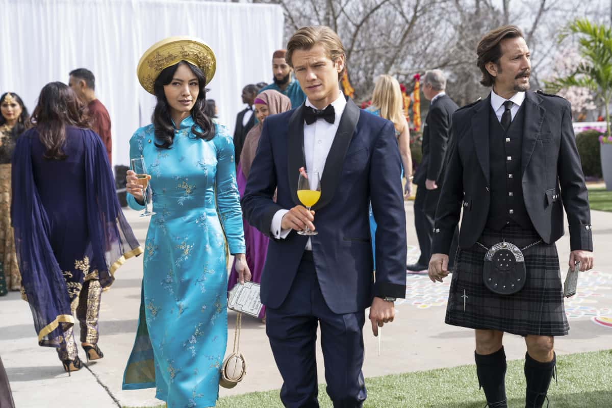 "MacGyver Season 5 Episode 12 ""Royalty + Marriage + Vivaah Sanskar + Zinc + Henna"" – Mac, Desi and Russ go undercover during a royal Indian wedding to protect a princess whose policies could put her life in danger. Also, Russ and Sophia come face-to-face at the wedding, Bozer suspects Riley is up to her old hacking ways and Matty runs down a lead in hopes of getting to the bottom of Mac and Riley's ingested nano-trackers, on MACGYVER, Friday, April 2 (8:00-9:00 PM, ET/PT) on the CBS Television Network. Pictured:  Levy Tran as Desi Nguyen, Lucas Till as Angus ""Mac"" MacGyver. r.   Photo: Nathan Bolster/CBS ©2020 CBS Broadcasting, Inc. All Rights Reserved."