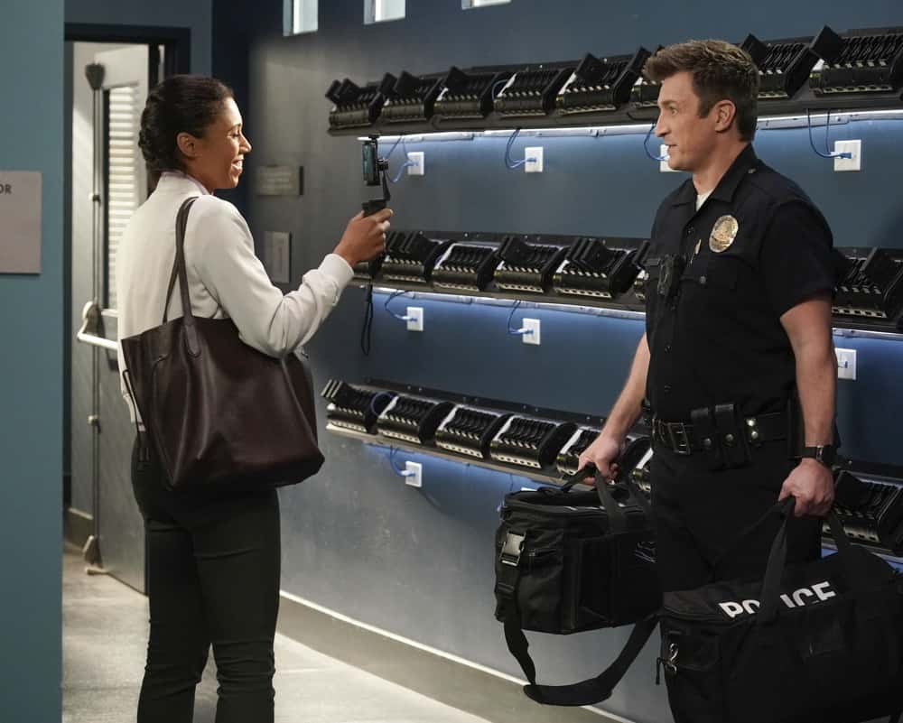 "THE ROOKIE Season 3 Episode 9 - ""Amber"" – An Amber Alert sends the team on a race against time to find a newborn infant who was stolen from a local hospital. Meanwhile, Officers Jackson and Chen work their last shift as rookies as Officer Nolan continues on for 30 more days on ""The Rookie,"" SUNDAY, APRIL 4 (10:00-11:00 p.m. EDT), on ABC. (ABC/Eric McCandless) TOKS OLAGUNDOYE, NATHAN FILLION"