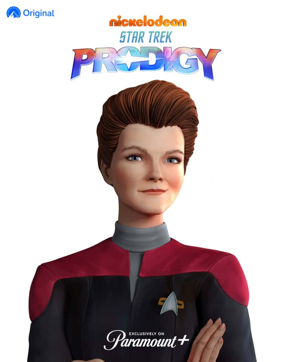 Pictured: Kate Mulgrew as Janeway of Star Trek: Prodigy . Photo Cr: Nickelodeon/Paramount+ ©2021, All Rights Reserved.