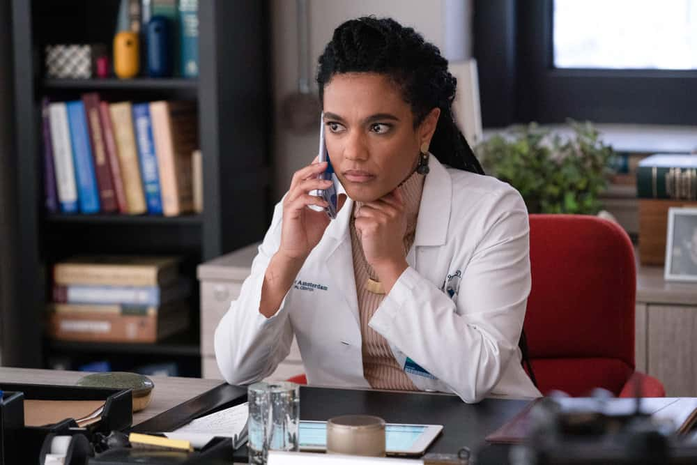 "NEW AMSTERDAM Season 3 Episode 6 -- ""Why Not Yesterday"" Episode 306 -- Pictured: Freema Agyeman as Dr. Helen Sharpe -- (Photo by: Virginia Sherwood/NBC)"