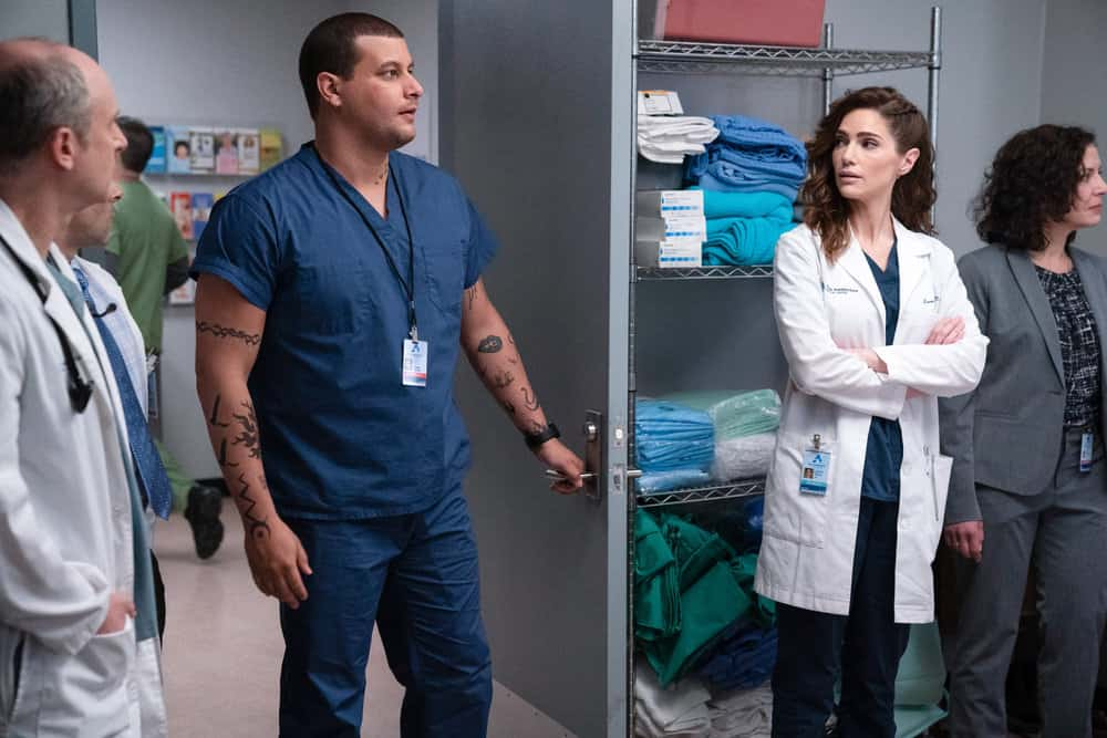 "NEW AMSTERDAM Season 3 Episode 6 -- ""Why Not Yesterday"" Episode 306 -- Pictured: (l-r) Alejandro Hernandez as Casey Acosta, Janet Montgomery as Dr. Lauren Bloom -- (Photo by: Virginia Sherwood/NBC)"