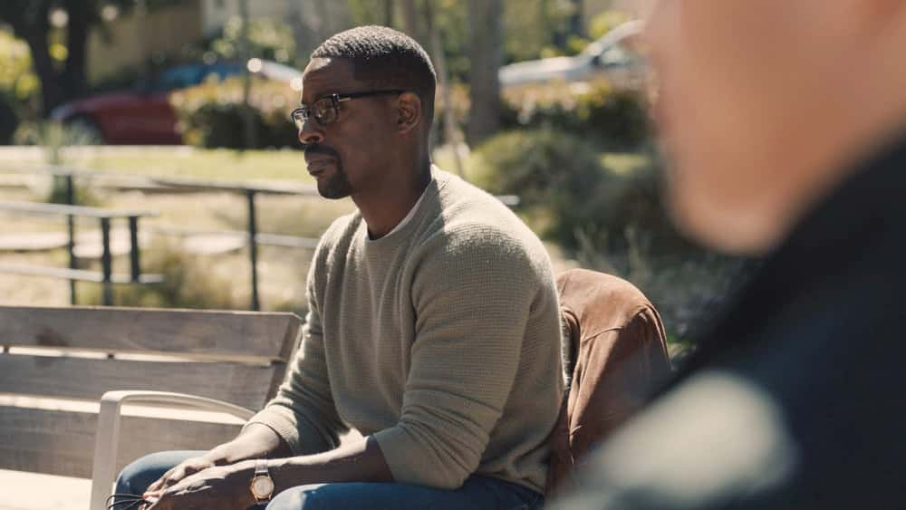 "THIS IS US Season 5 Episode 12 -- ""Both Things Can Be True"" Episode 512 -- Pictured in this screengrab: (l-r) Sterling K. Brown as Randall -- (Photo by: NBC)"