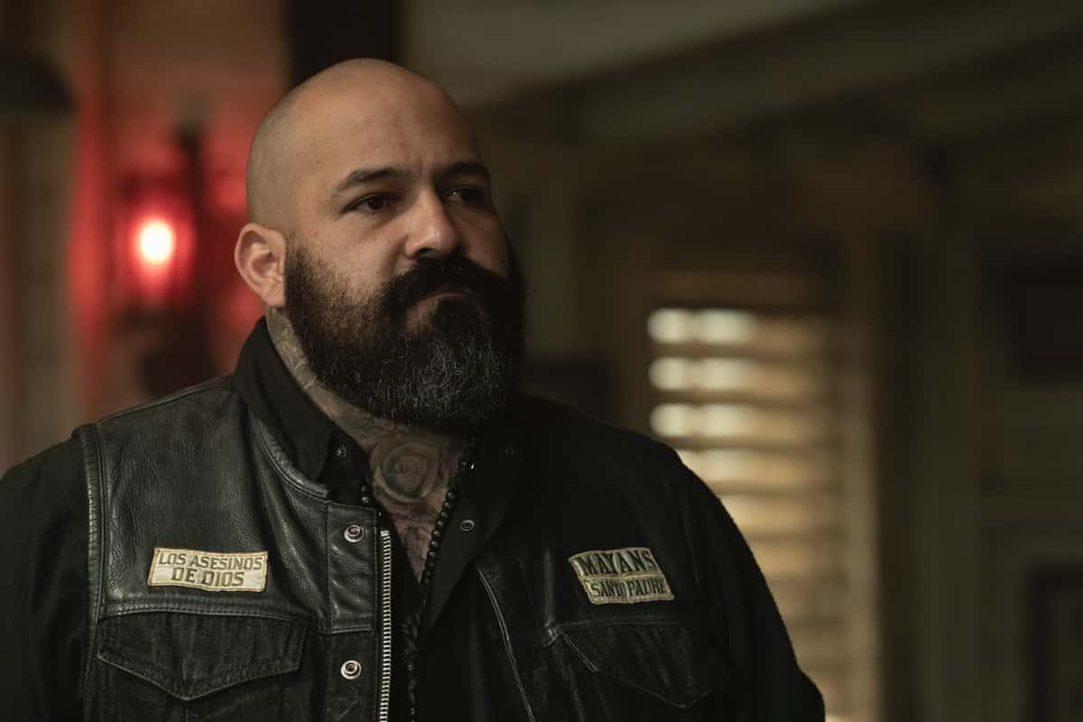 "MAYANS MC Season 3 Episode 5 -- ""Dark, Deep-Laid Plans"" -- Season 3, Episode 5 (Airs April 6) Pictured: Vincent Rocco Vargas as Gilberto ""Gilly"" Lopez. CR: Prashant Gupta/FX"