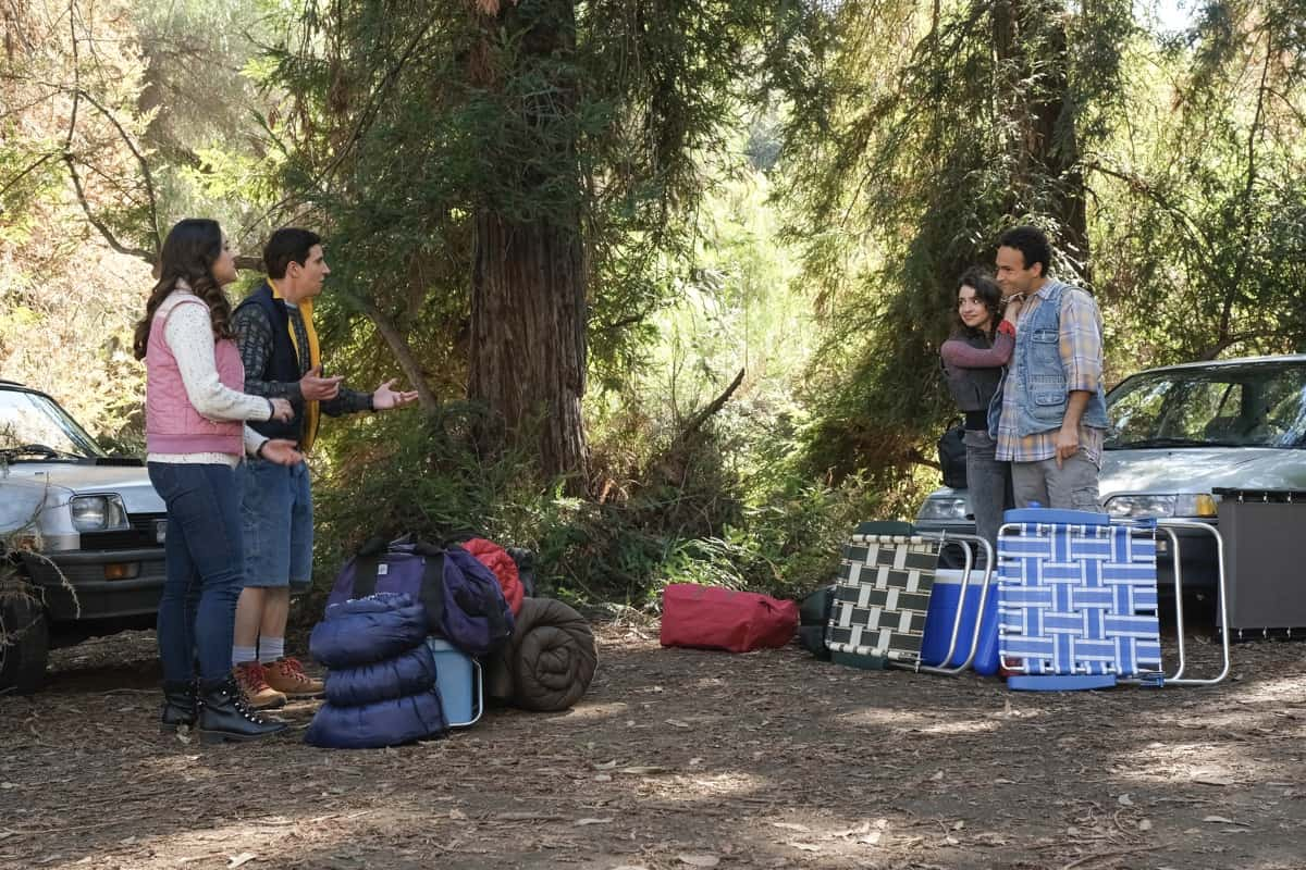 "THE GOLDBERGS Season 8 Episode 16 - ""Couple Off"" – When Barry and Joanne crash Erica and Geoff's peaceful weekend camping trip, they end up in a competition to see who is the better couple, causing some unexpected shifts in relationships. After learning that Brea thinks Adam has an easy, privileged life, Adam seeks to prove her wrong by getting a job but quickly learns she might be right on a new episode of ""The Goldbergs,"" WEDNESDAY, APRIL 7 (8:00-8:30 p.m. EDT), on ABC. (ABC/Scott Everett White) HAYLEY ORRANTIA, SAM LERNER, BETH TRIFFON, TROY GENTILE"