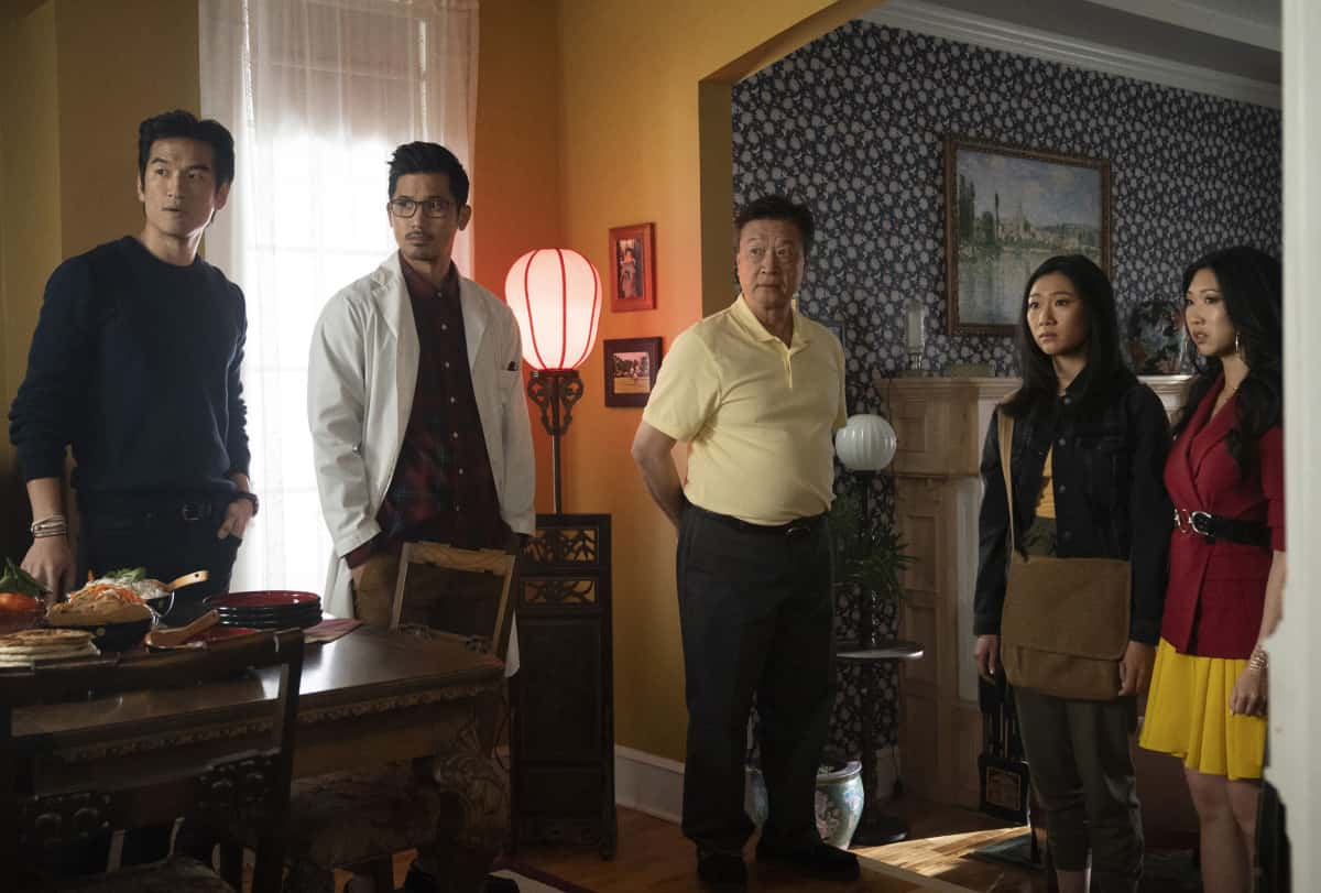 """Kung Fu Season 1 Episode 1 -- """"Pilot"""" -- Image Number: KF101b_0279r2.jpg -- Pictured (L-R): Tony Chung as Dennis Song, Jon Prasida as Ryan Shen, Tzi Ma as Jin Shen, Olivia Liang as Nicky Shen and Shannon Dang as Althea Shen  -- Photo: Katie Yu/The CW -- © 2021 The CW Network, LLC. All Rights Reserved"""