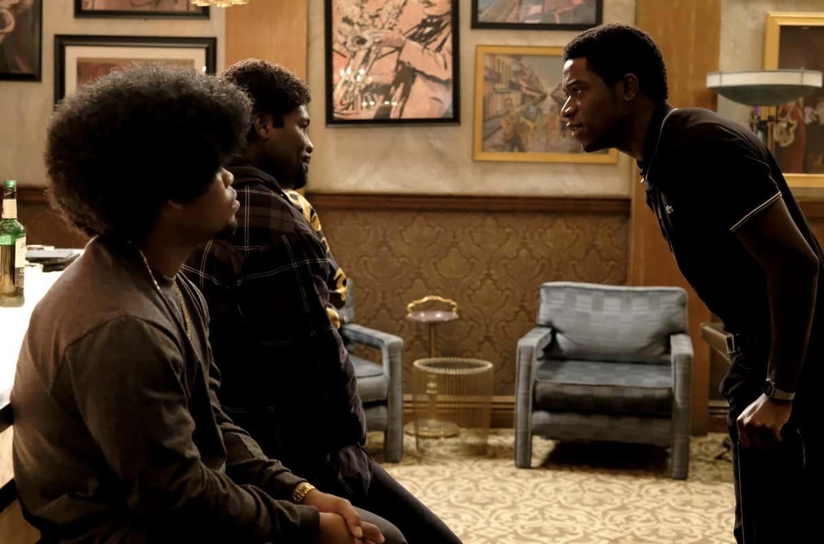 "Snowfall Season 4 Episode 8 ""Betrayal"" -- Season 4, Episode 8 (Airs Wednesday, April 7) -- Pictured: (l-r) Isaiah John. as Leon Simmons, Amin Joseph as Jerome Saint, Damson Idris as Franklin Saint. CR: Ray Mickshaw/FX"