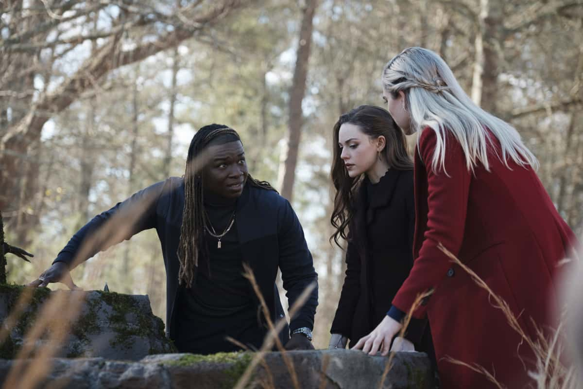 "Legacies Season 3 Episode 9 -- ""Do All Malivore Monsters Provide This Level of Emotional Insight?"" -- Image Number: LGC309a_0046r -- Pictured (L-R): Chris Lee as Kaleb, Danielle Rose Russell as Hope Mikaelson, and Jenny Boyd as Lizzie Saltzman -- Photo: Kyle Kaplan /The CW -- © 2021 The CW Network, LLC. All Rights Reserved."