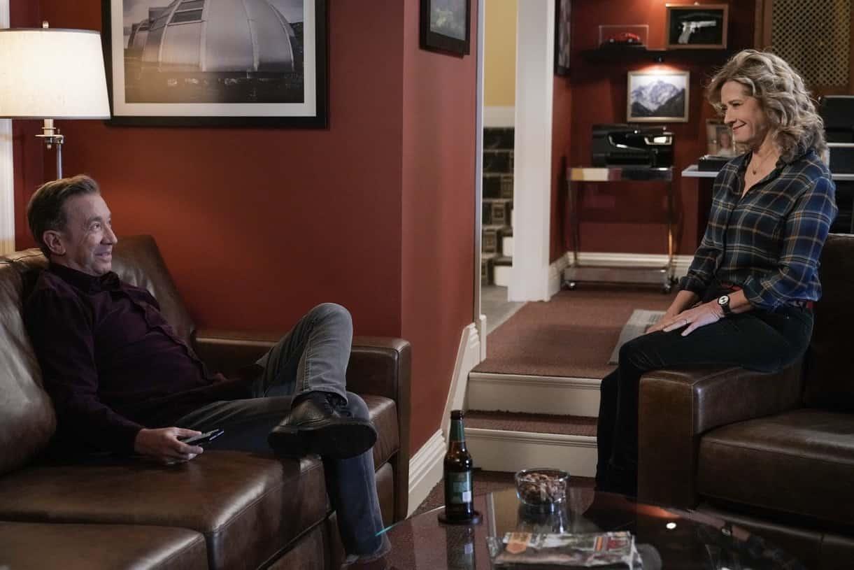 "LAST MAN STANDING Season 9 Episode 14 : L-R: Tim Allen and Nancy Travis in the ""The Two Nieces of Eve"" episode of LAST MAN STANDING airing Thursday, April 8 (9:00-9:30 PM ET/PT) on FOX. CR: Michael Becker/FOX. © 2021 FOX Media LLC."