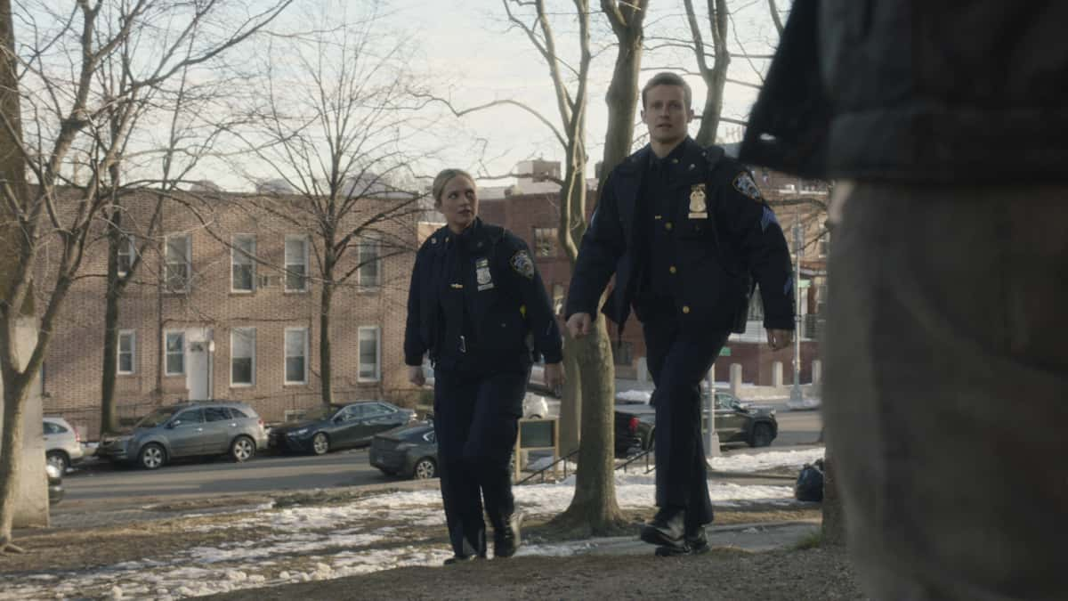 """Blue Bloods Season 11 Episode 11 """"Guardian Angels"""" – Frank takes matters into his own hands to save Gormley's career when the officer is accused of using excessive force after decades-old complaints against him become public knowledge. Also, Danny and Baez learn to be allies when the transgender community comes under attack, Jamie and Eddie aim to settle a personal dispute with a local thug who likes to fight cops, and Erin is pressured to let a good samaritan off the hook for a violent act of vigilantism, on BLUE BLOODS, Friday, April 9 (10:00-11:00 PM, ET/PT) on the CBS Television Network. Pictured: Vanessa Ray as Eddie Janko, Will Estes as Jamie Reagan.  Photo: CBS  ©2021 CBS Broadcasting Inc. All Rights Reserved."""