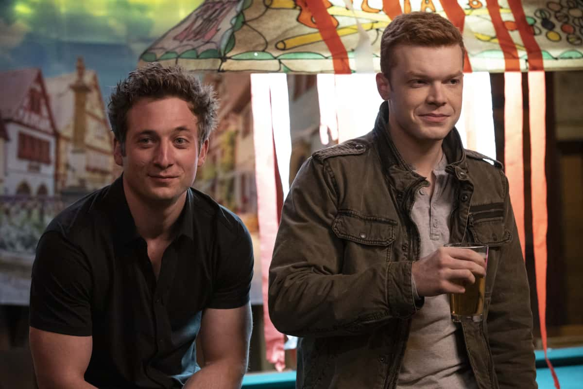 """Shameless Season 11 Episode 12 (L-R): Jeremy Allen White as Lip Gallagher and Cameron Monaghan as Ian Gallagher in SHAMELESS, """"Father Frank, Full of Grace"""". Photo Credit: Paul Sarkis/SHOWTIME."""