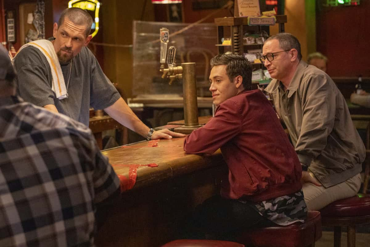 """Shameless Season 11 Episode 12 (L-R): Steve Howey as Kevin Ball, Ethan Cutkosky as Carl Gallagher and Joshua Malina as Arthur Tipping in SHAMELESS, """"Father Frank, Full of Grace"""". Photo Credit: Paul Sarkis/SHOWTIME."""