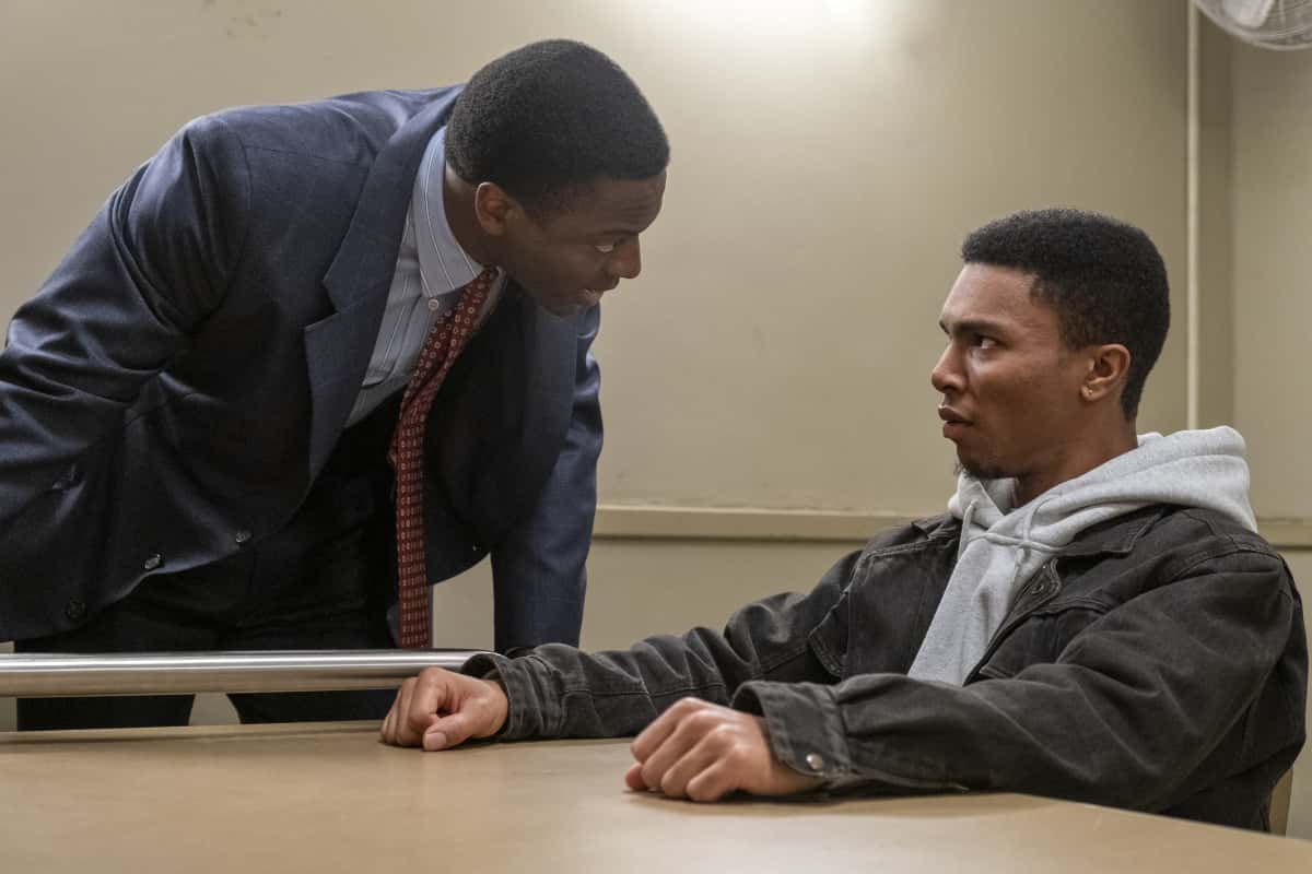 """City On A Hill Season 2 Episode 3 (L-R): Aldis Hodge as Decourcy Ward and Kameron Kierce as Kelvin Campbell in CITY ON A HILL, """"Is The Total Black, Being Spoken"""". Photo Credit: Francisco Roman/SHOWTIME."""