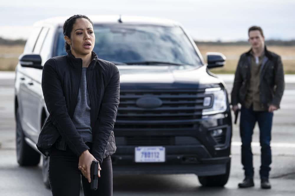 "DEBRIS Season 1 Episode 7-- ""You Can Call Her Caroline"" Episode: 107 -- Pictured: Riann Steele as Finola Jones -- (Photo by: James Dittiger/NBC)"