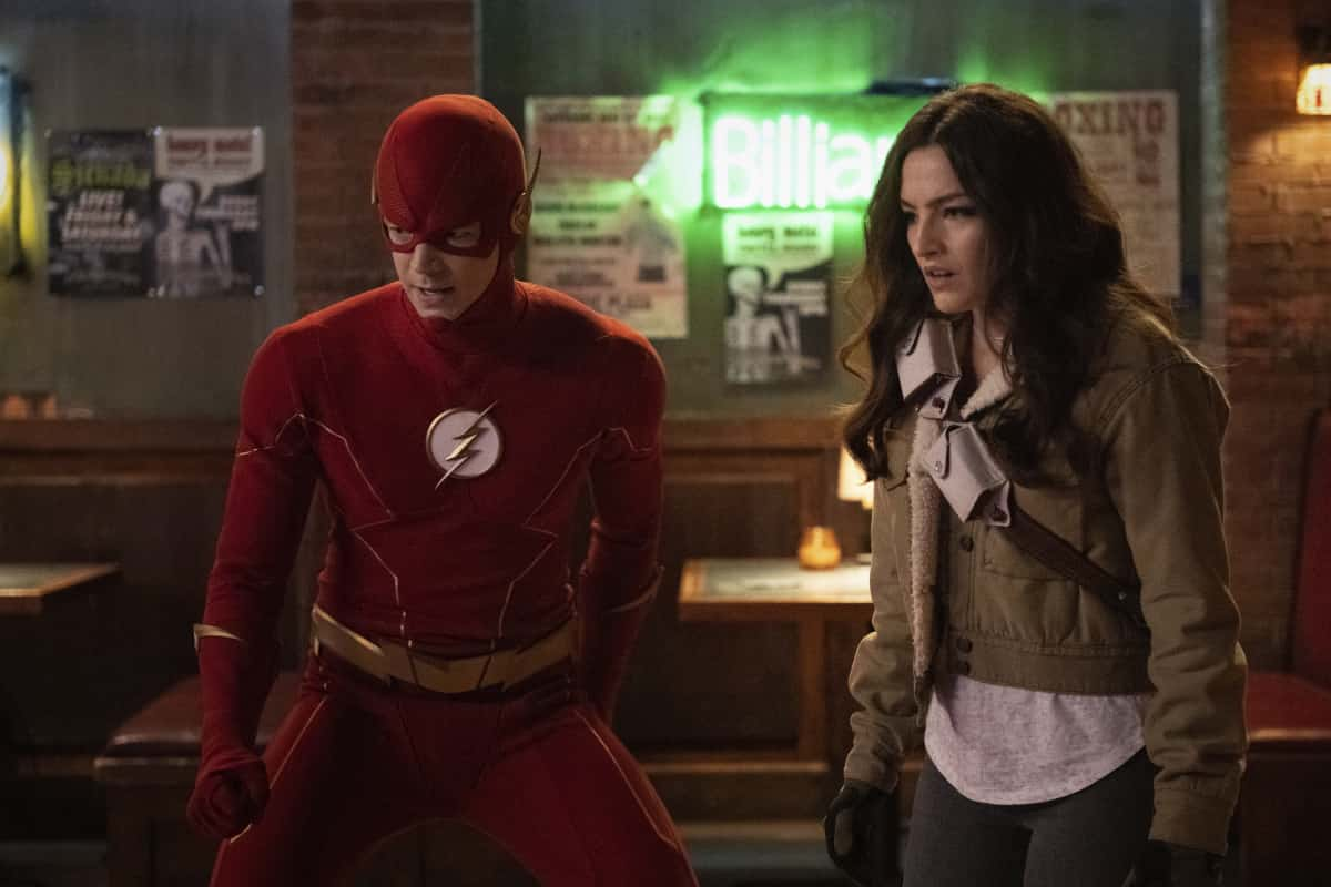 """The Flash Season 7 Episode 7 -- """"Growing Pains"""" -- Image Number:  FLA707b_0344r.jpg -- Pictured (L-R): Grant Gustin as Barry Allen and Kayla Compton as Allegra -- Photo: Dean Buscher/The CW -- © 2021 The CW Network, LLC. All Rights Reserved."""