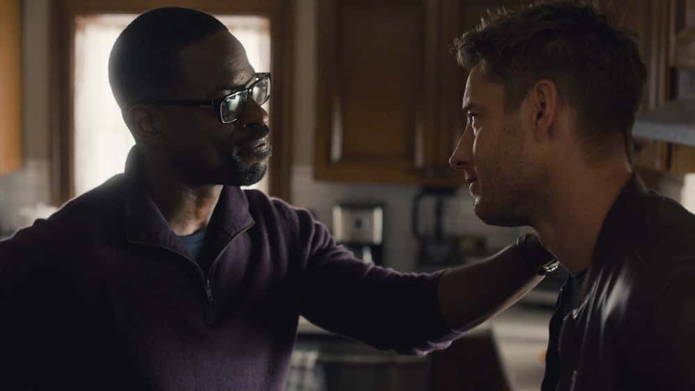 """THIS IS US Season 5 Episode 13 -- """"Brotherly Love"""" Episode 513 -- Pictured in this screengrab: (l-r) Sterling K. Brown as Randall, Justin Hartley as Kevin -- (Photo by: NBC)"""