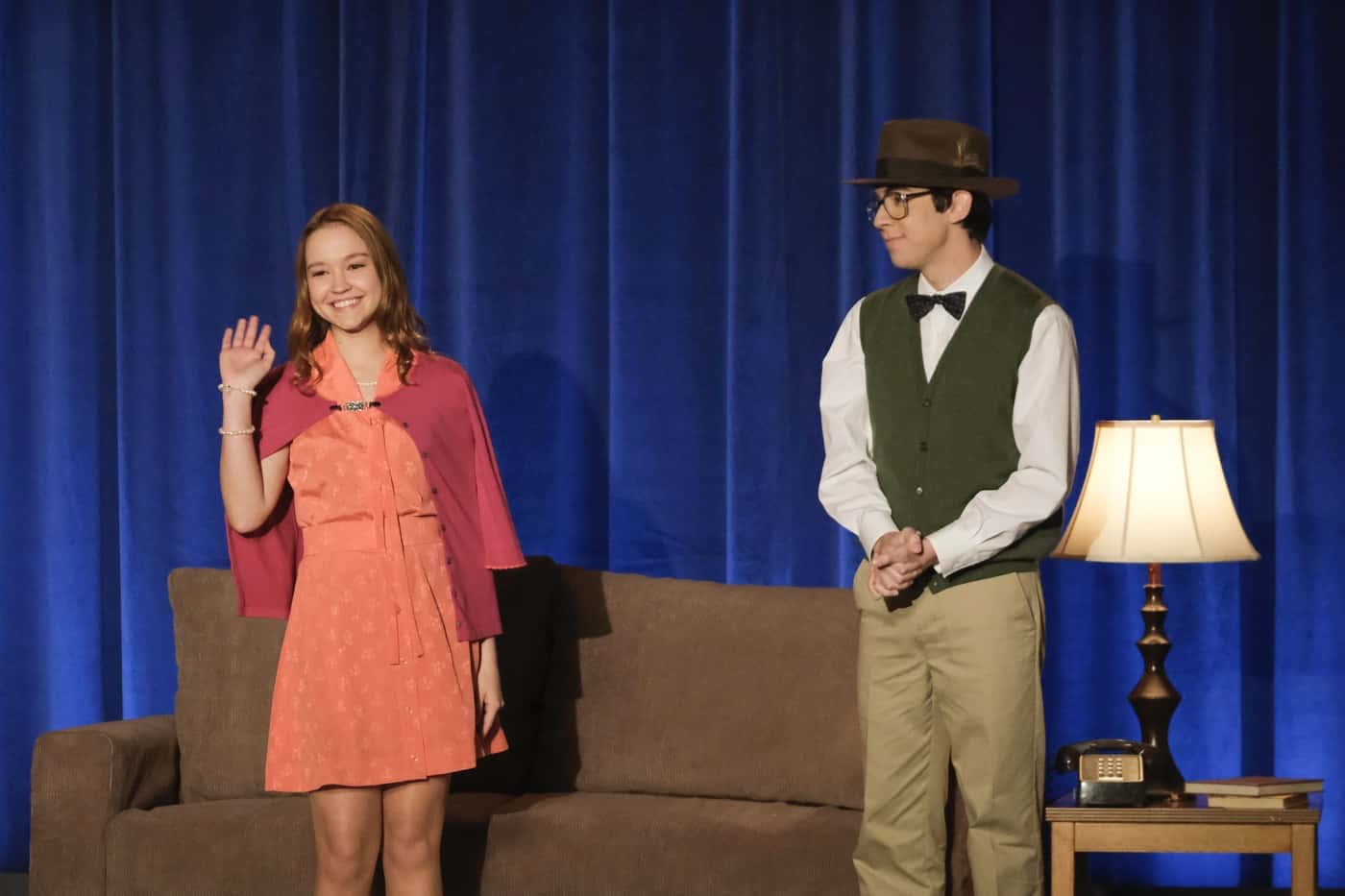 "THE GOLDBERGS Season 8 Episode 17 - ""Who's Afraid of Brea Bee?"" – After realizing there may be trouble in lovers' paradise for Erica and Geoff, Beverly involves herself in their relationship as well as Barry and Joanne's to make sure everyone stays together. Meanwhile, Adam and Brea are cast opposite of each other in the school play, but their excitement for one another's success grows dim when one starts to outshine the other onstage on a new episode of ""The Goldbergs,"" WEDNESDAY, APRIL 14 (8:00-8:30 p.m. EDT), on ABC. (ABC/Scott Everett White) SADIE STANLEY, AUGIE ISAAC"
