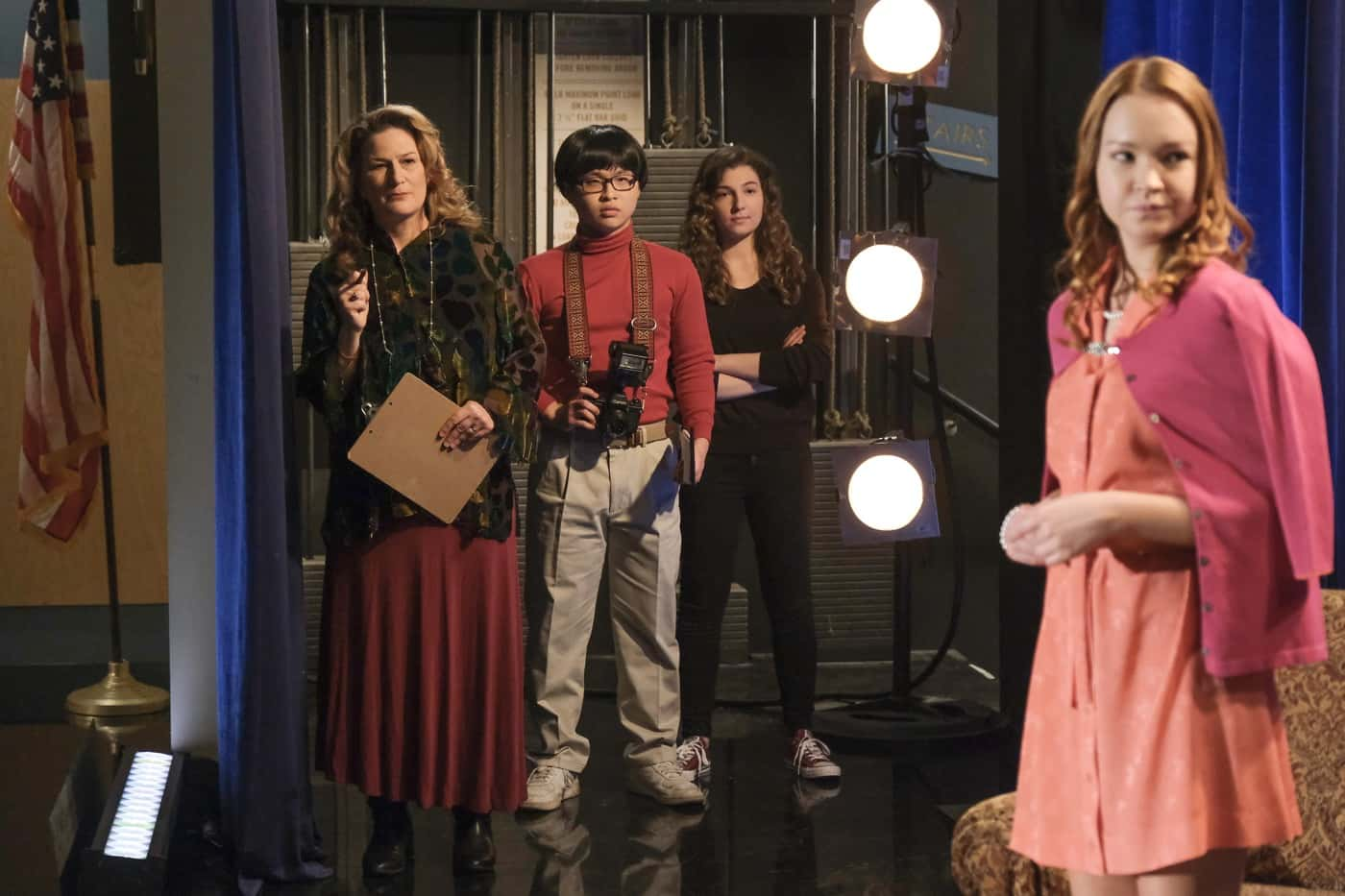 "THE GOLDBERGS Season 8 Episode 17 - ""Who's Afraid of Brea Bee?"" – After realizing there may be trouble in lovers' paradise for Erica and Geoff, Beverly involves herself in their relationship as well as Barry and Joanne's to make sure everyone stays together. Meanwhile, Adam and Brea are cast opposite of each other in the school play, but their excitement for one another's success grows dim when one starts to outshine the other onstage on a new episode of ""The Goldbergs,"" WEDNESDAY, APRIL 14 (8:00-8:30 p.m. EDT), on ABC. (ABC/Scott Everett White) ANA GASTEYER, KENNY RIDWAN"