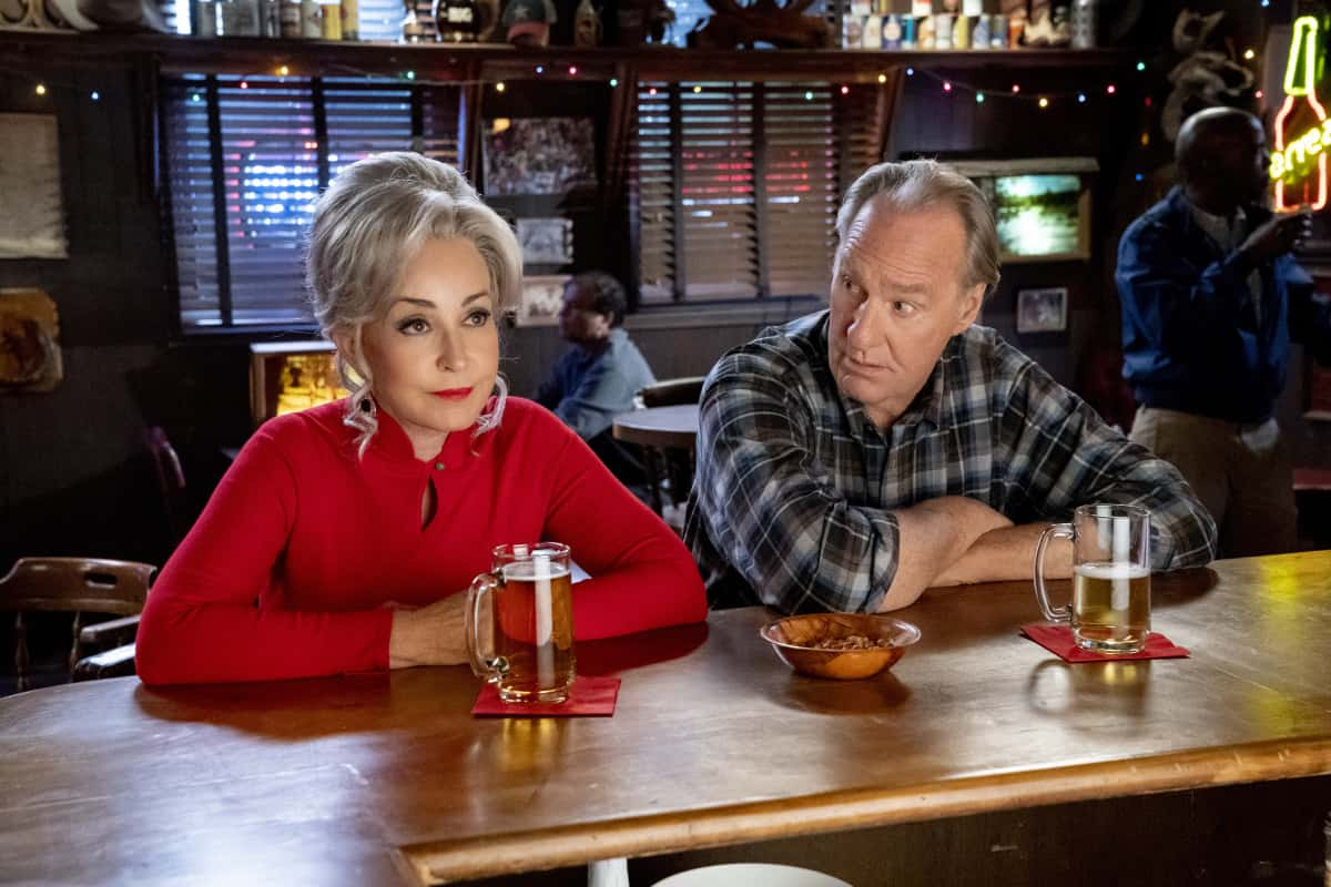 """Young Sheldon Season 4 Episode 14 """"Mitch's Son and the Unconditional Approval of a Government Agency"""" - Pictured: Meemaw (Annie Potts) and Dale (Craig T. Nelson). When the IRS accuses Sheldon of making a mistake, he'll stop at nothing to prove them wrong. Also, Dale is forced to get a colonoscopy and tries to convince Meemaw to join him, on Thursday, April 15 (8:00-8:31 PM, ET/PT) on the CBS Television Network. Photo: Robert Voets/©2021 Warner Bros. Entertainment Inc.  All Rights Reserved."""