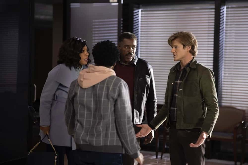 """MacGyver Season 5 Episode 14 """"H20 + Orthophosphates + Mission City + Corrosion + Origins"""" – Mac and Desi travel with Bozer to his childhood home when his aunt dies in a tragic accident, however, they soon discover she may have been murdered for trying to expose the city's contaminated water supply. Also, Riley, Matty and Russ continue to follow leads on their nano-trackers investigation, on MACGYVER, Friday, April 16 (8:00-9:00 PM, ET/PT) on the CBS Television Network. Ernie Hudson and Wendy Raquel Robinson guest star as Bozer's parents. Pictured: Wendy Raquel Robinson, Ernie Hudson, Justin Hires as Wilt Bozer, Levy Tran as Desi Nguyen,     Photo: Fernando Decillis/CBS ©2021 CBS Broadcasting, Inc. All Rights Reserved."""