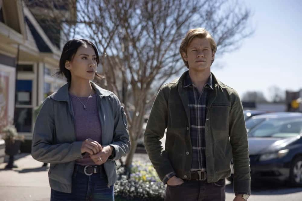 """MacGyver Season 5 Episode 14 """"H20 + Orthophosphates + Mission City + Corrosion + Origins"""" – Mac and Desi travel with Bozer to his childhood home when his aunt dies in a tragic accident, however, they soon discover she may have been murdered for trying to expose the city's contaminated water supply. Also, Riley, Matty and Russ continue to follow leads on their nano-trackers investigation, on MACGYVER, Friday, April 16 (8:00-9:00 PM, ET/PT) on the CBS Television Network. Ernie Hudson and Wendy Raquel Robinson guest star as Bozer's parents. Pictured: Levy Tran as Desi Nguyen,  Lucas Till as Angus """"Mac"""" MacGyver.  Pictured:  Photo: Fernando Decillis/CBS ©2021 CBS Broadcasting, Inc. All Rights Reserved."""